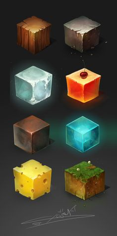 Materials cube and sphere , Cheza Kun on ArtStation at https://www.artstation.com/artwork/materials-cube-and-sphere