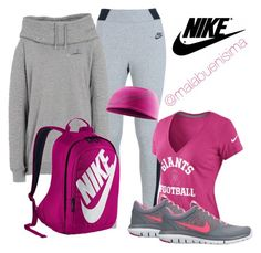 """Nike Sets Fucsia n Grey"" by malabuenisima ❤ liked on Polyvore featuring moda e NIKE"