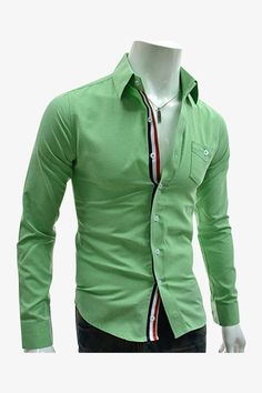 Slim Fit Tricolor Stripes Insert Long Sleeve Shirt In Light Green