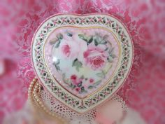 Cottage Romantic Shabby Vintage Chic Porcelain Heart Box with Pink Roses