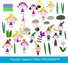 Digital Ben & Holly clipart / little kingdom clipart / png / jpg / Ben and… Ben N Holly, Ben And Holly Cake, Fairy Birthday Party, Pig Birthday, 4th Birthday Parties, Ben And Holly Party Ideas, Troll Party, Holidays And Events, Clipart