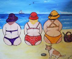 Foto's dikke dames - www. Easy Canvas Painting, Diy Canvas Art, Plus Size Art, Fat Art, Art Impressions, Fat Women, Whimsical Art, Beach Art, Acrylic Art