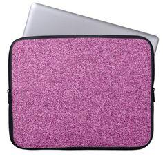 Pink faux glitter computer sleeve - cyo diy customize unique design gift idea perfect