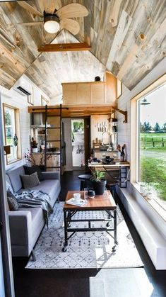 Urban Payette Tiny Home with Bump Out 0016 Really like this look! But where is any clothing storage or boots, shoes, coats? house design Urban Payette Tiny Home with Bump Out Tyni House, Tiny House Cabin, Tiny House Living, Tiny House Plans, Tiny House Design, Tiny House On Wheels, Small Living, Tiny House Kitchens, Tiny Home Floor Plans