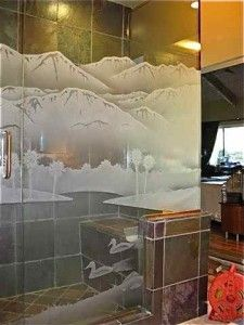 Desert Lakes Glass Shower Etched Glass Western Decor Turn ordinary glass shower into custom showers with etched glass art! Glass Shower Enclosures, Glass Shower Doors, Etched Glass, Glass Etching, Custom Shower, Western Decor, Lakes, Showers, Glass Art