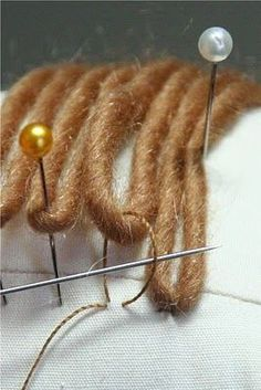 Wonderful tutorial for how to attach yarn for doll hair!