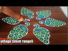 #SIMPLE PEACOCK RANGOLI DESIGN FOR BEGINNERS WITH 5DOTS MADE EASY TO DRAW FOR EVERYONE - YouTube Rangoli Designs Peacock, Rangoli Designs Diwali, Rangoli Designs With Dots, Diwali Rangoli, Indian Rangoli, Rangoli Borders, Rangoli Border Designs, Rangoli Patterns, Lotus Rangoli
