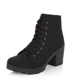 Black Canvas Lace Up Block Heel Boots  | New Look