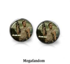 Daryl Dixon Stud Earrings 12 mm round Studs with a beautiful high resolution printed image sealed under a high quality glass dome. Silver plated Studs, nickel and lead free. These earrings are water r