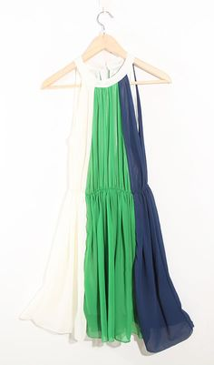 White Blue And Green Pinup Tank Round Neck Dress