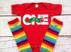 ONE, TWO, Very Hungry Caterpillar, Birthday onesie and leg warmers set, t-shirt, 1st, 2nd, baby gift, baby shower gift, photo prop on Etsy, $26.00