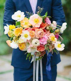 bright poppy and garden rose bouquet by Shotgun Floral Studio Poppy Wedding Bouquets, Poppy Bouquet, Bridesmaid Bouquet, Floral Wedding, Wedding Flowers, Bridal Bouquets, Bouquet Flowers, Parker Palm Springs, Fleur Design