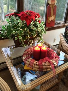 Wine cork wreath used as a candleholder