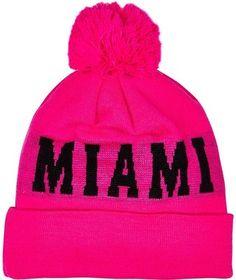 River Island Bright pink Miami beanie hat Pom Pom Beanie Hat 687fd3550f92