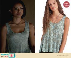 Bonnie's blue snowflake print tank top on The Vampire Diaries. Outfit Details: http://wornontv.net/23113 #TheVampireDiaries