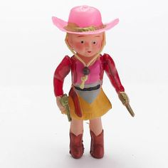 Vintage Celluloid Cowboy Girl Doll