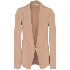 VANESSA BRUNO Blazer (765 BRL) ❤ liked on Polyvore featuring outerwear, jackets, blazers, coats & jackets, skin color, beige jacket, long sleeve blazer, shawl collar jacket, beige blazer and long sleeve jacket