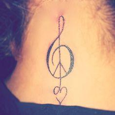 peace, love and music tattoo