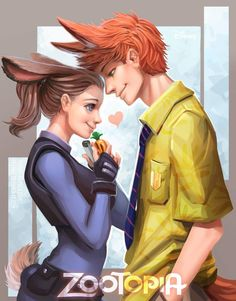 Judy & Nick ~ Zootopia ~ Human Version ~ sweet I ship it so much omg j can't even