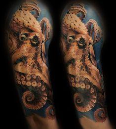 Тату восьменога в кольорі. Індивідуальний ескіз тату, розроблено майстрами #Customhousetattoo  #тату на руку чоловічі #sketchesoftattoo #tattooparlor #tattooshop #tattoolviv #tattoing #сделатьтату #татусалонльвов Sleeve Tattoos, Skull, Tattoo Sleeves, Arm Tattoo, Arm Tattoos, Skulls, Sugar Skull, Shoulder Sleeve Tattoos