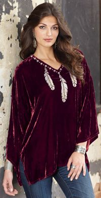 Double D Ranch Three Feather Velvet Top from Crows Nest Trading