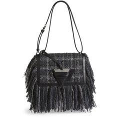 LOEWE Barcelona Fringe Tweed Shoulder Bag (€2.640) ❤ liked on Polyvore featuring bags, handbags, shoulder bags, apparel & accessories, loewe, loewe purse, fringe shoulder bag, shoulder hand bags and loewe handbag