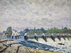 """Molesey Weir, Hampton Court"" (1874) Toile d'Alfred Sisley à la National Gallery of Scotland à Edimbourg."