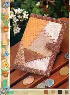 Confraria do Patchwork - Projetos: Carteira com crazy patchwork