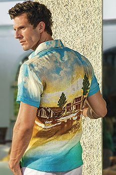 Irish Linen picturesque digital print shirt.