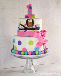 Owl Cake for Twins 1st Birthday + Smash Cakes