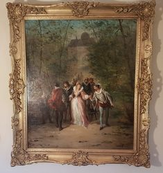 """Antiques Atlas - Oil Painting On Canvas By """"Carlo Rossi"""" Antique Frames, Antique Photos, Vintage Frames, Social View, Oil Painting On Canvas, Oil Paintings, Italian Painters, Antiques For Sale, Out Of Style"""