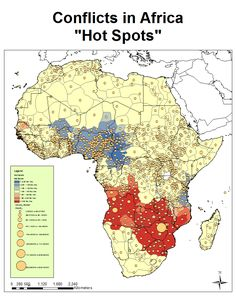 """Conflicts in Africa """"Hot Spots""""."""