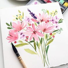 Morning ☺️🌸 flowers were painted in the style 😉 Do you want to watch a process of painting this bouquet? Please write in the comments. Easy Watercolor, Watercolor Cards, Watercolour Painting, Watercolor Flowers, Watercolors, Watercolor Inspiration, Floral Illustrations, Flower Art, Morning Flowers