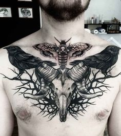 Chest Tattoo Ram Skull