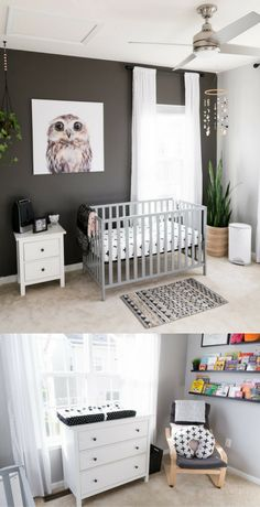 A Modern and Neutral Nursery // Behr Silver City, Behr Dark Granite // Ikea Hemnes in nursery // Ikea Poang in nursery // Ikea Mosslanda Bookshelves