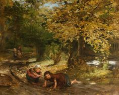 Autumn Leaves by William McTaggart; Royal College of Physicians of Edinburgh; Oil on canvas, 63 x 82 cm Glasgow Museum, Cornelius, Art Uk, Leaf Art, Canadian Artists, Romanticism, Your Paintings, Landscape Art, Autumn Leaves