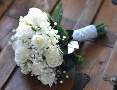 Wedding Flowers, Wedding Bouquet, Keepsake, Bridal Bouquet, Wedding Flowers, Wedding Bouquet, Ivory, White Roses with Babies Breath Bouquet. on Etsy, $99.00