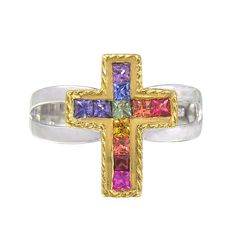 Rainbow Sapphire Crucifix Rings 18K GP and 925 Sterling Silver (0.8ct tw)
