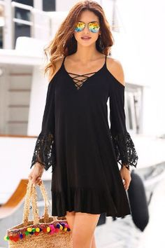 Black Boho Open Shoulder Lace Long Sleeve Babydoll Dress MB220037-2 – ModeShe.com