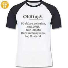 Geburtstag - 60. Geburtstag Oldtimer Fun Geschenk - L - Weiß/Navy Blau - L140 - zweifarbiges Baseballshirt für Männer - Shirts zum 60 geburtstag (*Partner-Link)