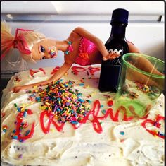 Homemade Drunk Barbie 24th Birthday Cake Food