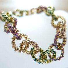 Beaded Ringlets Bracelet Purple Bronze Green by JeannieRichard