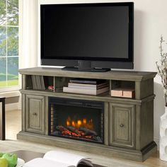 "Fireplace TV Console Stand Entertainment Center Top Storage Shelf Dark Gray 58"" #GHPGroupInc"