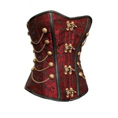 Black Red Steampunk Clothing Corset