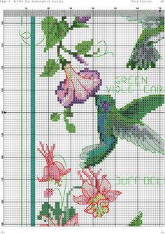John J Audubon Bird Ruby Hummingbird Counted Cross Stitch Pattern