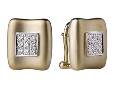 Aretes en oro amarillo de 18 kilates con diamantes incoloros. // 18K yellow gold earrings with diamonds