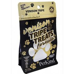 """PetKind Tripe Treats """"Venison Tripe"""" includes the benefits of green tripe in a convenient to feed and friendly smelling format. This product is easy to break into training-size pieces and can be fed to dogs of all sizes. #healthypets #pets #lehighvalley #allentown #newstuff http://ift.tt/2bG5iem"""