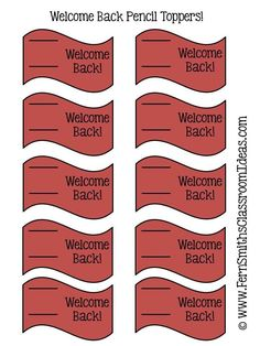 Fern Smith's #FREE Welcome Back To School Pencil Toppers #Freebie #ClassroomFreebies