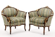 Pair, Carved Walnut Louis XV Style Low Armchairs : Lot 1034