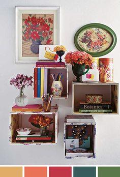 achados-da-bia-perotti-blog-ideia-decoração-caixas-forradas-flores-quadros-livros-lápis-de-cor
